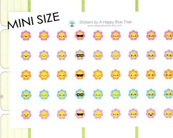 MINI Happy Flower EMOTIONS Themed Stickers Erin Condren Life Planner ECLP Mambi Personal Plum Midori Kawaii Cute Tiny Mad Sad Spring Daisy