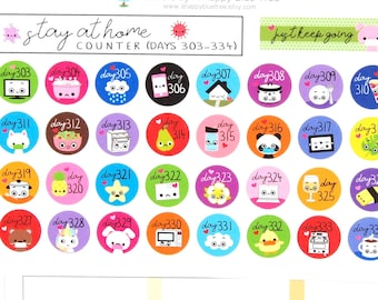 Stay at Home (Days 303-334) Counter Tracker Stickers Erin Condren Life Planner ECLP Mambi Kawaii Cute Personal Shelter Place Self Quarantine
