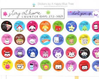 Stay at Home (Days 272-302) Counter Tracker Stickers Erin Condren Life Planner ECLP Mambi Kawaii Cute Personal Shelter Place Self Quarantine