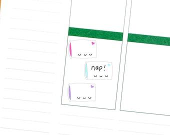 Sleepy Pillow Write In Tracker Reminder Cute Kawaii Personal Planner Stickers Erin Condren Kikkik Midori Mambi Funny Nap Sleep