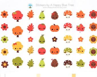 Happy Fall Harvest Character Themed Stickers Erin Condren Life Planner ECLP Mambi Personal A5 A6 Plum Kikkik Kawaii Cute Fruit Pine Cone