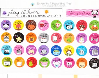 Stay at Home (Days 241-271) Counter Tracker Stickers Erin Condren Life Planner ECLP Mambi Kawaii Cute Personal Shelter Place Self Quarantine