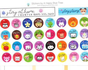 Stay at Home (Days 335-365) Counter Tracker Stickers Erin Condren Life Planner ECLP Mambi Kawaii Cute Personal Shelter Place Self Quarantine