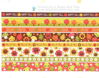 Happy FALL HARVEST Washi Strip Stickers Sheet Erin Condren Life Planner ECLP Mambi Personal A5 A6 Plum Midori Kawaii Cute Funny Tape Fruit