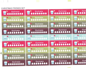 Happy Hydrate Label (CHRISTMAS FRIENDS Kit Colors) Daily Stickers Tracker Reminder Erin Condren Life Planner Mambi Create Kawaii Cute Water