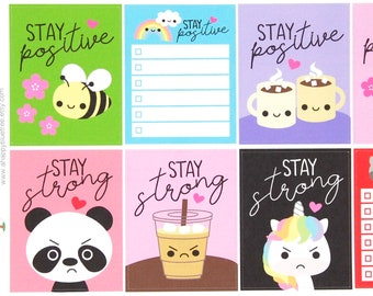Stay Positive/Stay Strong Full Box Reminder Cute Kawaii Planner Stickers Erin Condren ECLP Mambi Personal Motivation Inspirational Happy