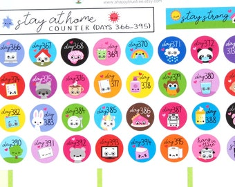 Stay at Home (Days 366-395) Counter Tracker Stickers Erin Condren Life Planner ECLP Mambi Kawaii Cute Personal Shelter Place Self Quarantine
