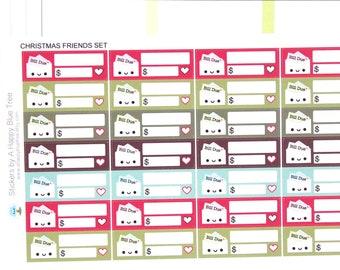 Happy Bill Due (CHRISTMAS FRIENDS Kit Colors) Reminder Label Cute Kawaii Vertical Erin Condren Planner Stickers Mambi Personal Cute Budget