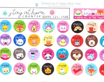 Stay at Home (Days 121-150) or (606-635) Counter Tracker Stickers Erin Condren Life Planner ECLP Mambi Kawaii Cute Personal Shelter Place