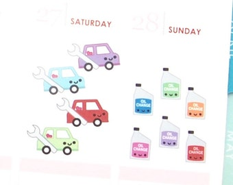 Happy Car Maintenance Oil Change Reminder Tracker Cute Kawaii Planner Stickers Erin Condren Mambi Personal Funny Repair Shop