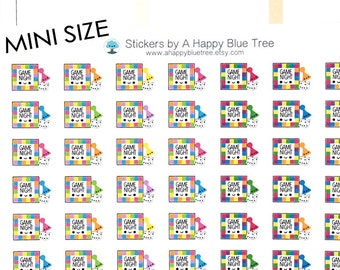 Happy MINI Game Night Reminder Tracker Cute Kawaii Planner Stickers Erin Condren Life Mambi Kikkik Plum Personal A5 A6 B6 Funny Board Games