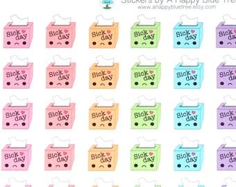 Sad Sick Day Tissue Box Reminder Tracker Kawaii Planner Stickers Erin Condren Personal Mambi Kikkik Cute Funny Tissues Flu Off