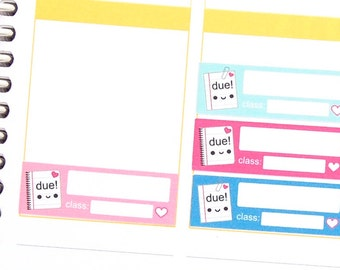 Happy School Assignment Due Reminder Label Cute Kawaii Vertical Erin Condren Planner Stickers Funny Cute Paper Project Homework