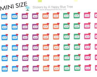 Happy MINI Email Reminder Tracker Cute Kawaii Planner Stickers Erin Condren Midori Personal A5 A6 Plum Kikkik Funny Social Media