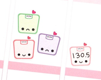 Happy (or Sad) Scale Reminder Tracker Cute Kawaii Planner Stickers Erin Condren Mambi Personal Plum A5 Funny Weight Weigh in Diet