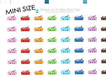 MINI Happy Cat Litter Reminder Kawaii Stickers for Erin Condren planner ECLP Personal Mambi Kikkik Midori Funny Cute Clean Kitten