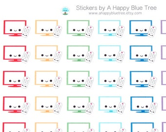 Happy TV Television Reminder Tracker Kawaii Planner Stickers Erin Condren Personal Mambi Plum A5 Cute Funny DVR Remote Cable
