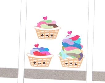 Sad or Happy Laundry Basket Reminder Kawaii Stickers Erin Condren planner, Midori Traveler Calendar Kikkik Kawaii Funny Cute Iron