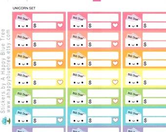 Happy or Sad Bill Due (UNICORN Kit Colors) Reminder Label Cute Kawaii Vertical Erin Condren Planner Stickers Mambi Personal Cute Rainbow