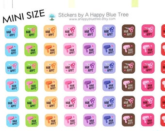Happy MINI Hair Haircut Appointment Reminder Tracker Cute Kawaii Planner Stickers Erin Condren Life Plum Mambi Personal A5 Funny Blow Out Sq