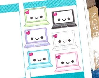 Happy Laptop Computer Tracker Reminder Kawaii Stickers Erin Condren planner Kikkik Midori Funny  Work School
