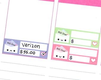 Happy or Sad Bill Due Reminder Label Cute Kawaii Vertical Erin Condren Planner Stickers Kikkik Funny Cute Phone Money Budget