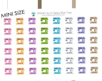 MINI Happy Sewing Day Reminder Tracker Cute Kawaii Planner Stickers for Erin Condren Life Midori Mambi Kikkik Personal Funny Class Machine