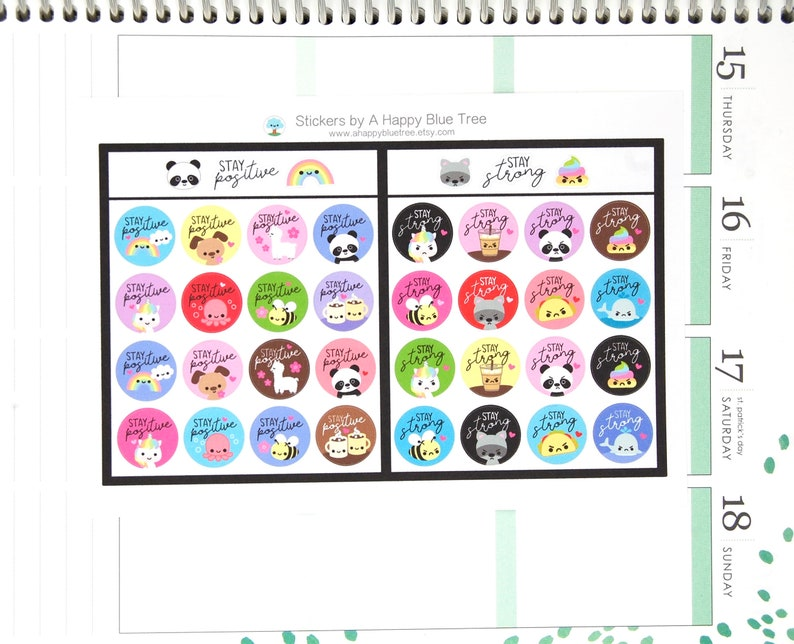 Stay Positive/Stay Strong Tracker Reminder Cute Kawaii Planner image 0