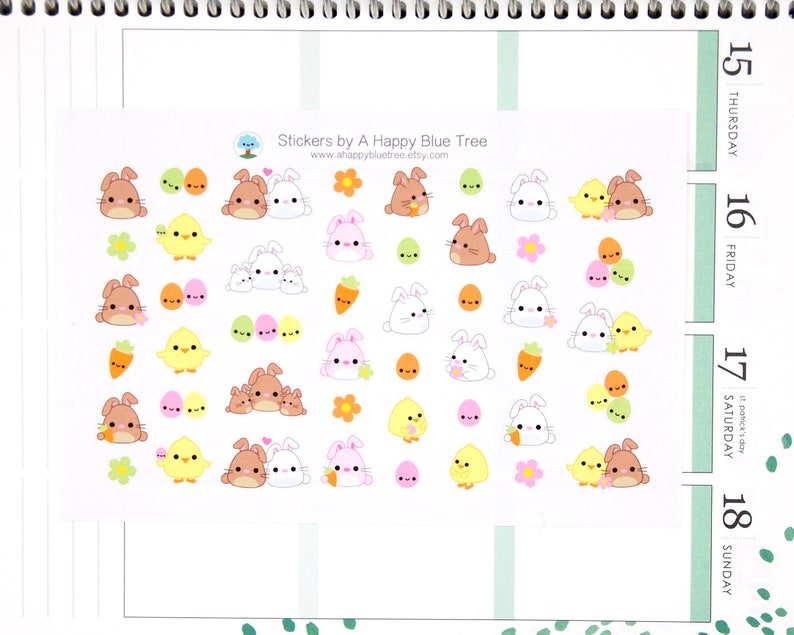Happy Chicks and Bunnies Stickers Erin Condren Life Planner image 0