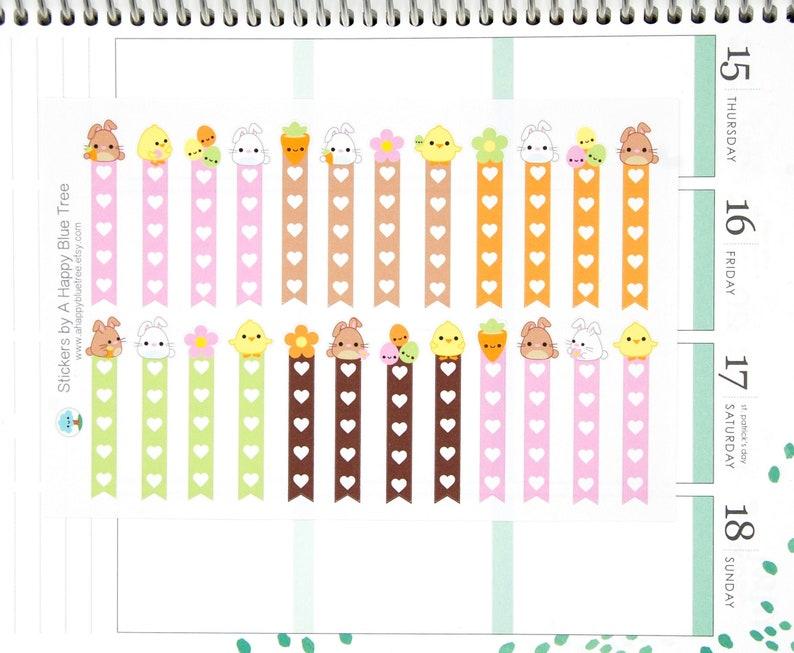 Happy Chicks & Bunnies Flags Checklist Stickers Vertical Erin image 0
