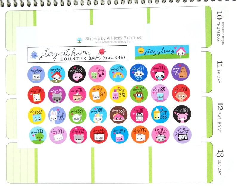 Stay at Home Days 366-395 Counter Tracker Stickers Erin image 0