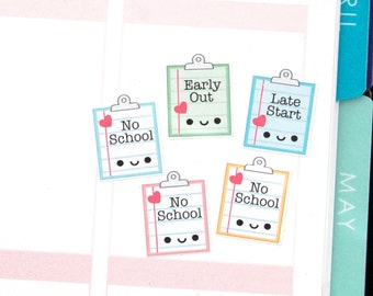 Happy No School Reminder Tracker Cute Kawaii Planner Stickers for Erin Condren Midori Notebook Scrapbook Funny Early Out Snow Day Schedule