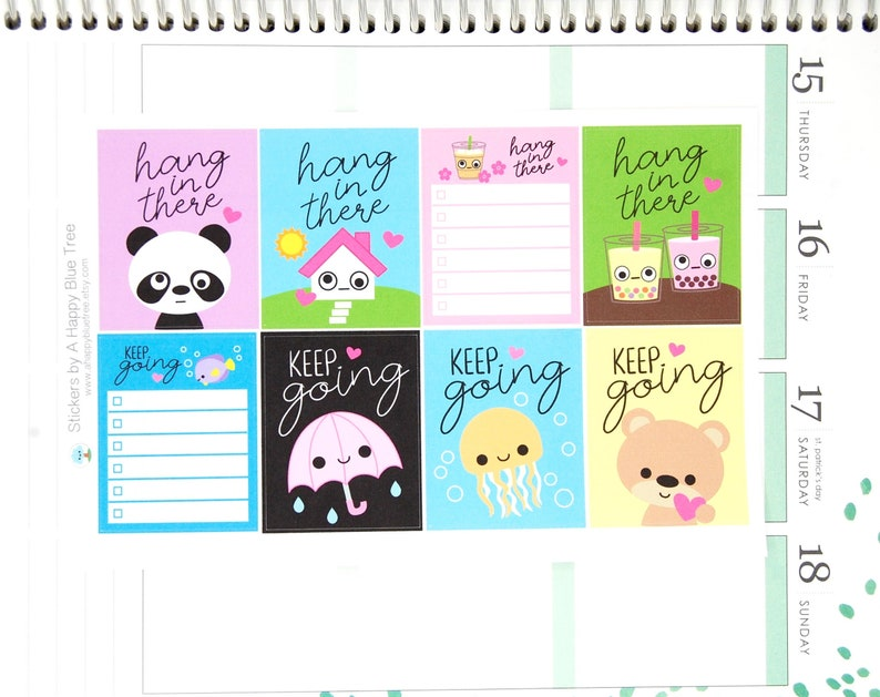 Hang in There/Keep Going Full Box Reminder Cute Kawaii Planner image 0