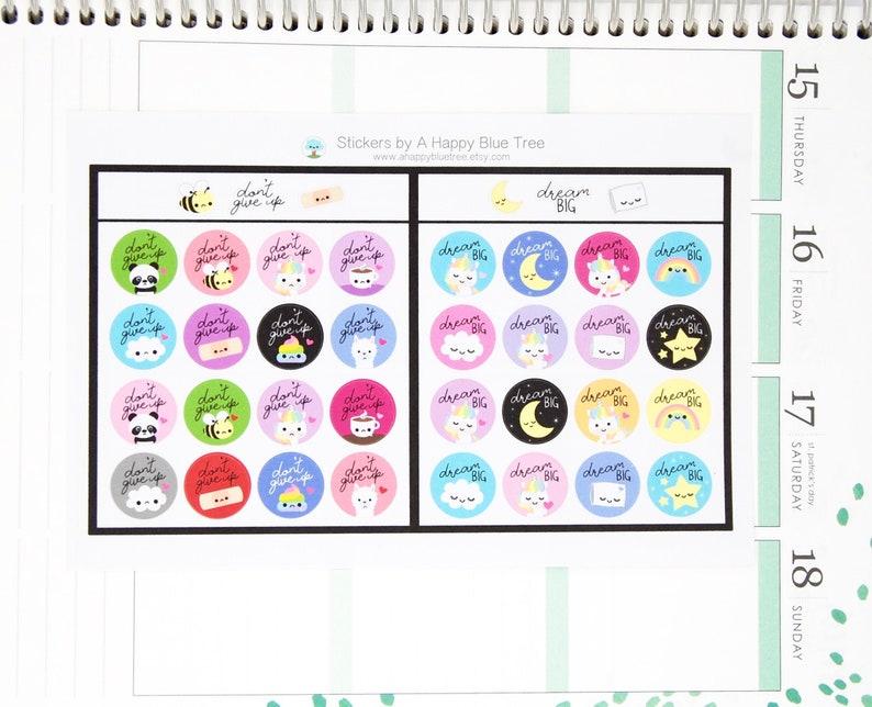Dream Big/Don't Give Up Tracker Reminder Cute Kawaii image 0