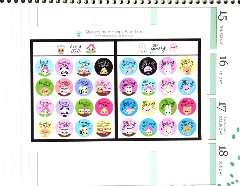 Hang in There/Keep Going Tracker Reminder Cute Kawaii Planner image 0