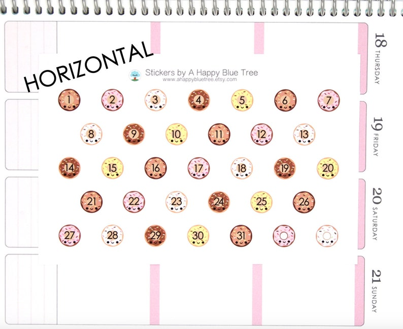 Happy Donut Date Covers HORIZONTAL Erin Condren Life Planner image 0