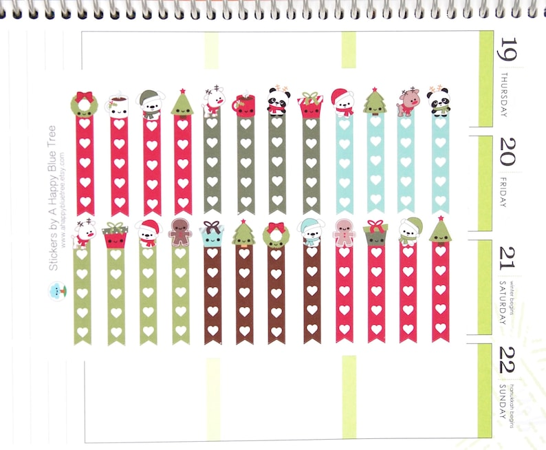 Happy Christmas Friends Flags Checklist Stickers Vertical Erin image 0