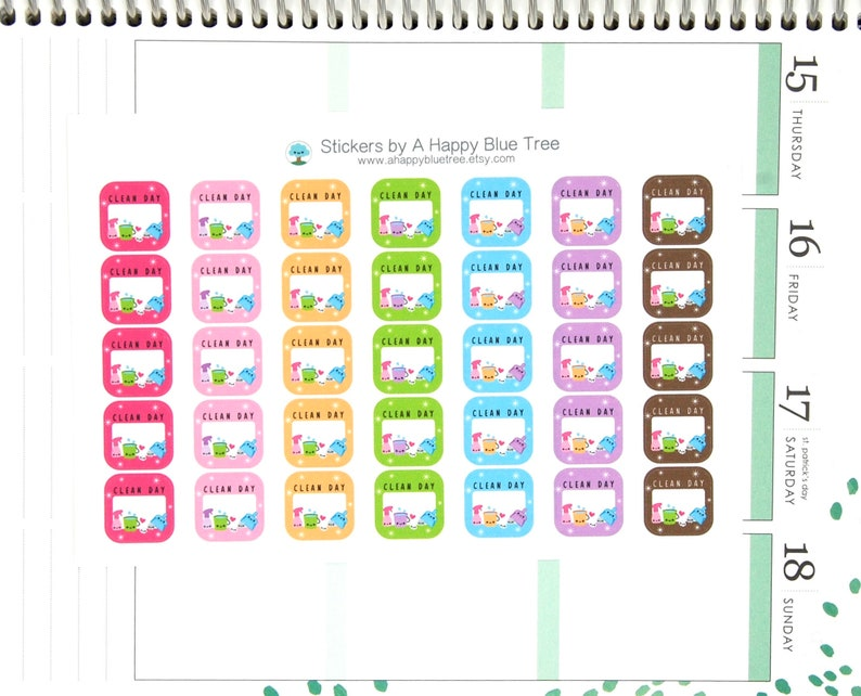 Happy Clean Day Write-in Square Tracker Reminder Stickers Erin image 0