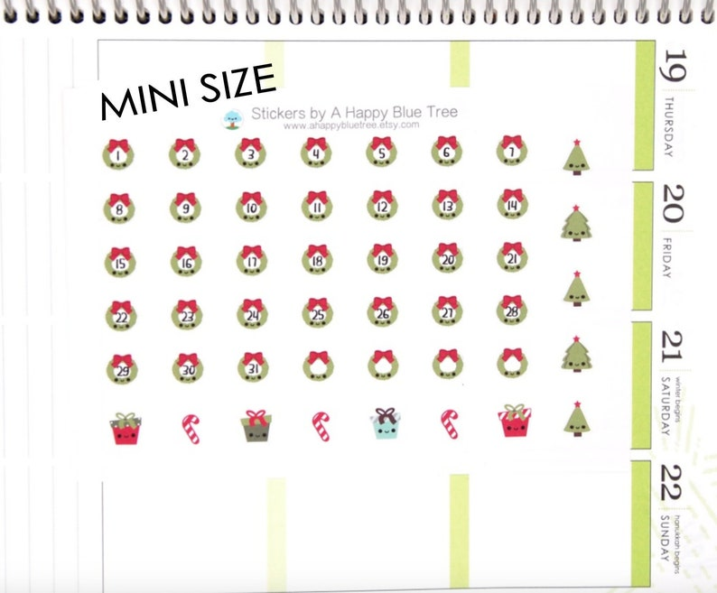 Tiny Happy Christmas Wreath Monthly Date Dots Covers Stickers image 0