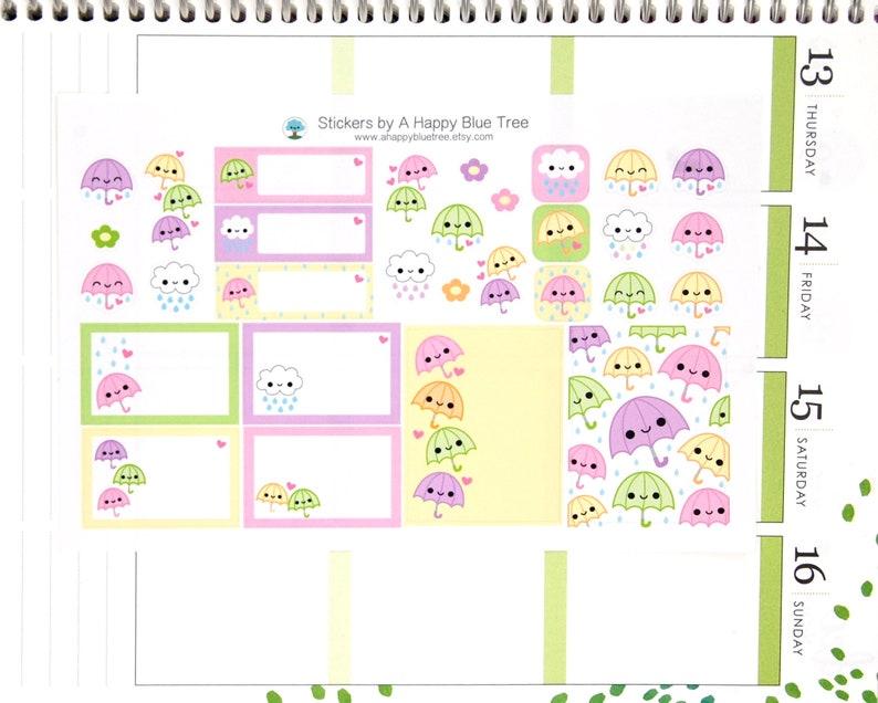 Happy Rainy Day Umbrella Tracker Cute Kawaii Planner Stickers image 0