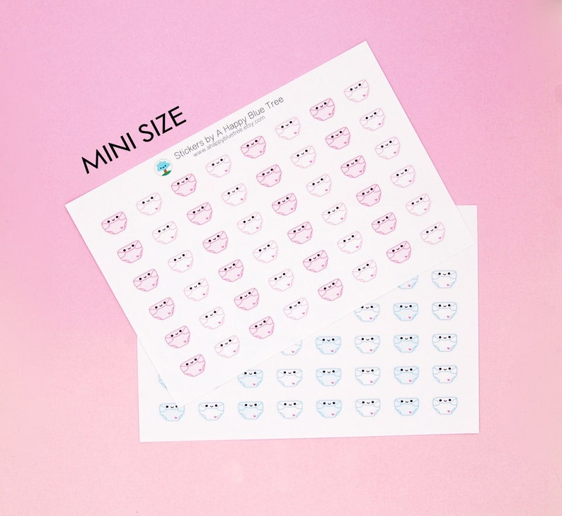 Happy MINI Baby Diaper Reminder Tracker Cute Kawaii Planner image 0