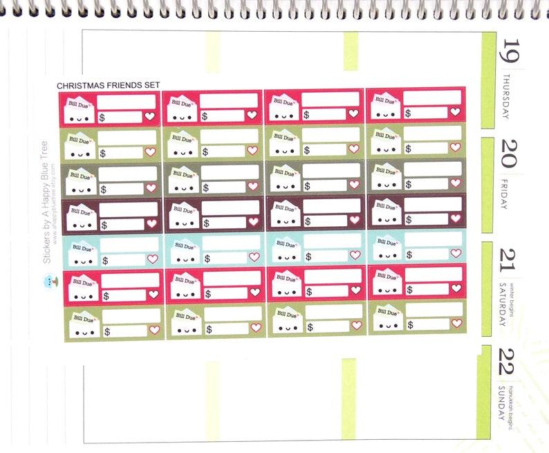 Happy Bill Due CHRISTMAS FRIENDS Kit Colors Reminder Label image 0