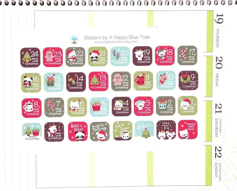 Happy Christmas Friends Square Countdown Stickers Erin Condren image 0