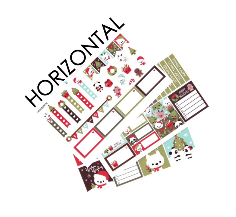 Happy Christmas Friends Sticker Set of 3 HORIZONTAL Erin image 0