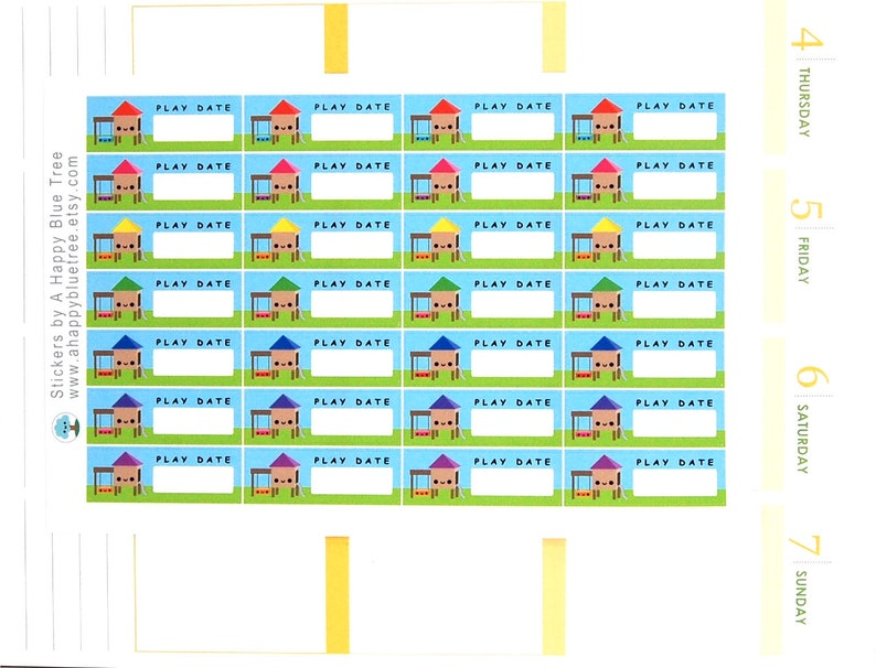 Happy Play Date Label Tracker Reminder Stickers Erin Condren image 0