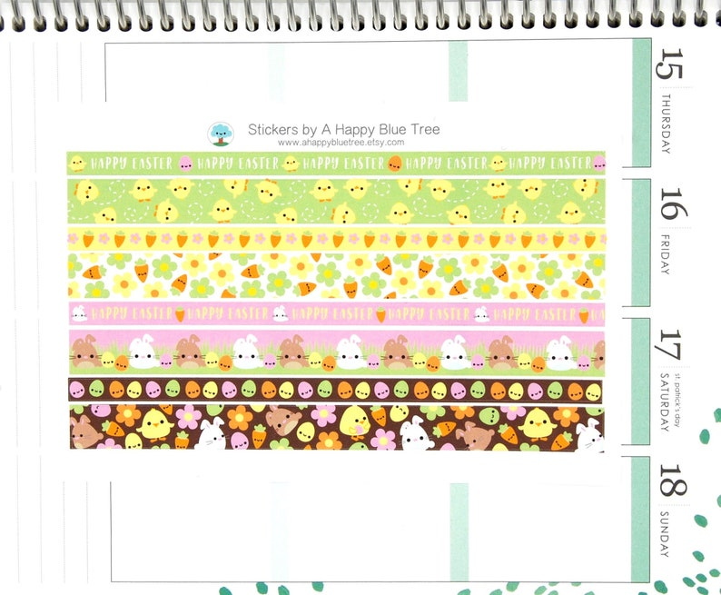 Happy EASTER Chicks and Bunnies Washi Strip Stickers Sheet image 0