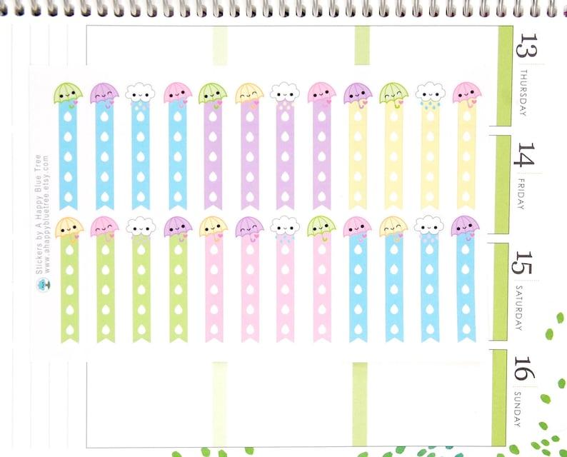 Happy Umbrella Flags Checklist Stickers Vertical Erin Condren image 0