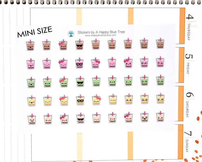 MINI Happy Boba Tea Drink Emotions Themed Stickers Erin image 0