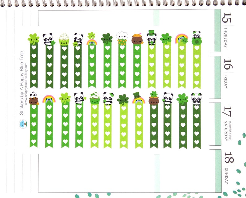 Happy St Paddy's Day Panda Flags Checklist Stickers image 0