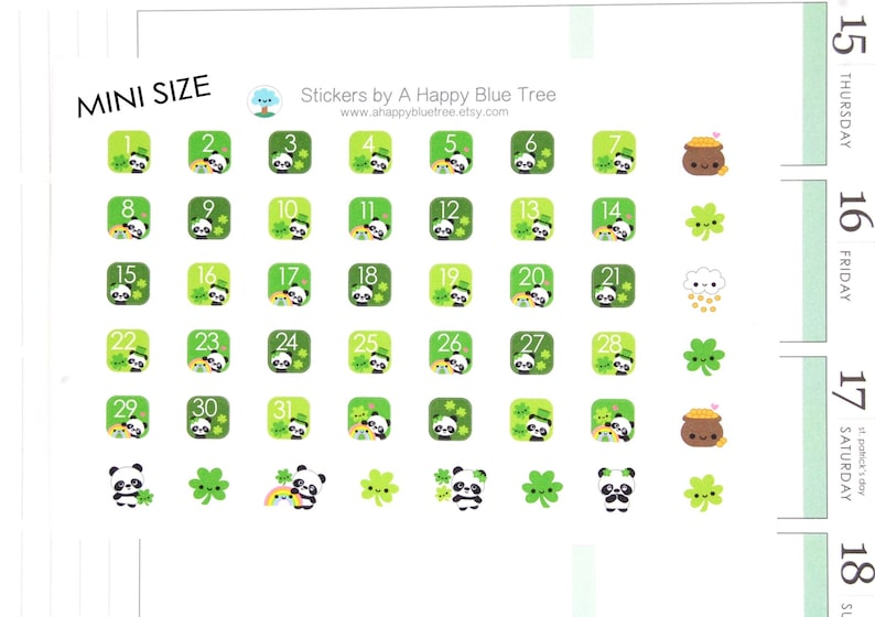 Tiny Happy St. Paddy's Day Panda Monthly Date Dots Covers image 0